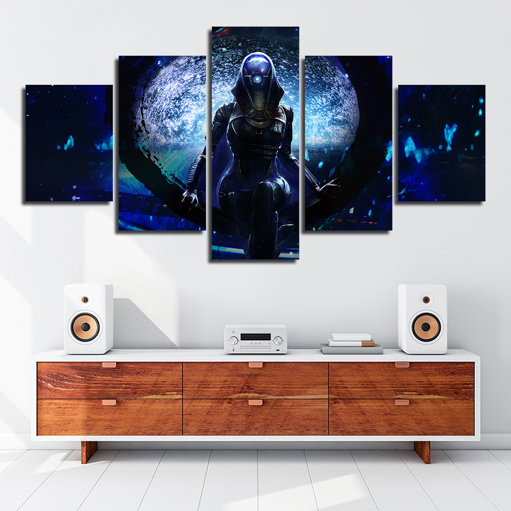 Artwork Canvas Painting HD Prints Home Decoration 5 Pieces Mass effect Wall Art Modular Game Figure Picture Living Room Posters image