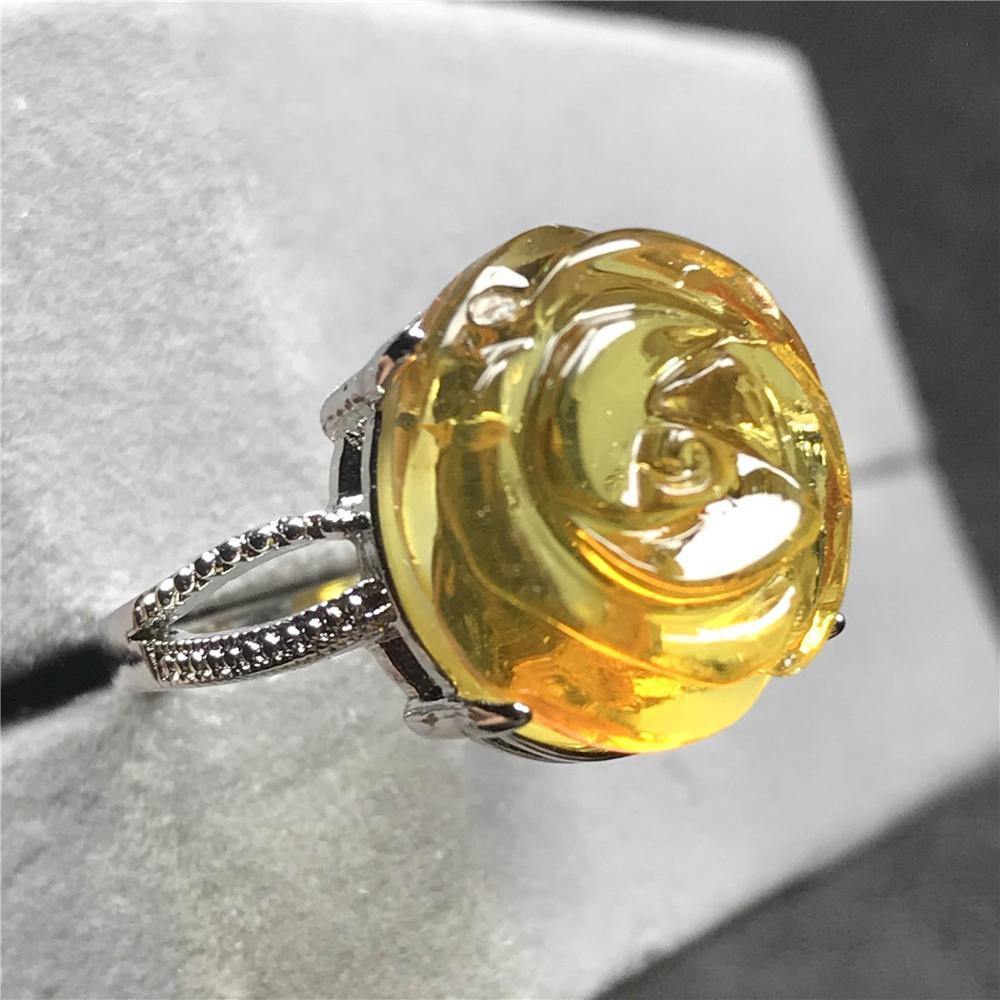 15mm Top Yellow Amber Ring Jewelry For Woman Lady Man Love Gift Silver Flower Carved Beads Gemstone Adjustable Size Ring AAAAA