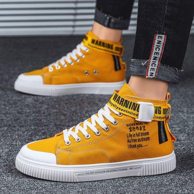 BIGFIRSE 남성 캐주얼 신발 높은 탑 편안한 남성 패션 신발 비 슬립 남성 스니커즈 야외 레저 신발 Zapatillas Hombre