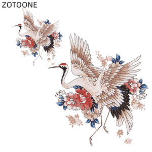 ZOTOONE Vintage Crane Patches for Clothes Iron on Heat Transfer Applique Diy Printed Flower Patch Application Thermo Stickers C