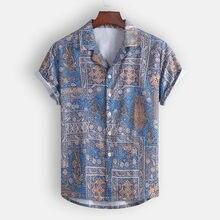 Camisas masculinas havaianas estampadas, blusa casual para homens, manga curta, moda verão 2020