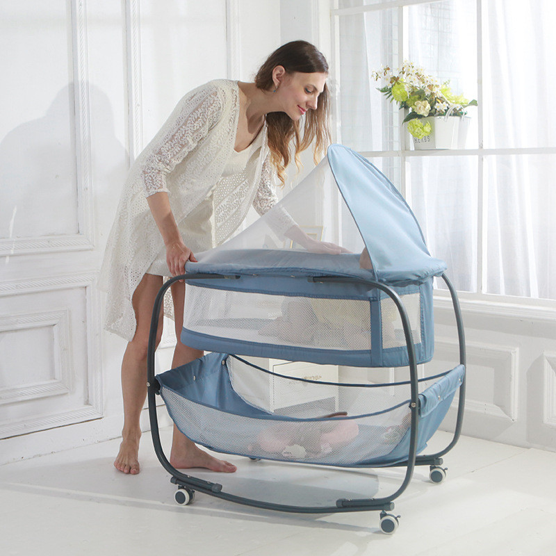 1 Years BB Double Layer Cots Infant Portable Household Movable Breathable Baby Newborn Shaker With Roller With Flat Mosquito Net