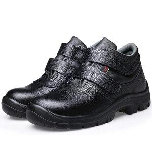 Image 3 - Mens מזדמן גדול גודל בטיחות מגפיים פרה עור פלדת הבוהן מכסה עבודה ריתוך נעליים בחוץ עובד אבטחה קרסול אתחול sapatos