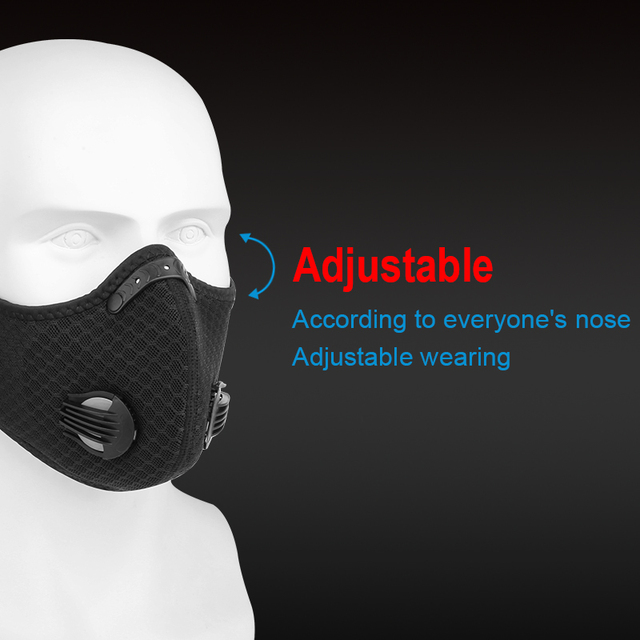 X-TIGER Sports Cycling Face Mask With 2 Filter Anti-Pollution Filter PM 2.5 Activated Carbon Breathing Valve Running Mask 1