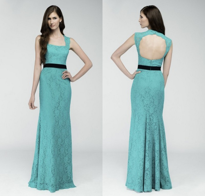 High Quality Long Mermaid Green Lace 2018 Free Shipping Square Collar Sexy Backless Sash Party Gown Elegant Bridesmaid Dresses