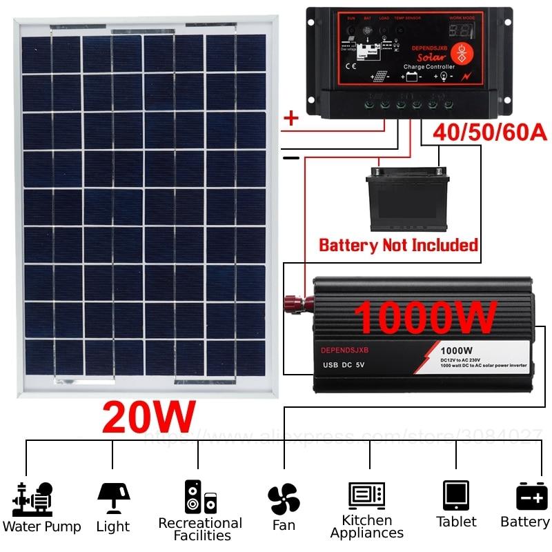 18V 20W Solar Panel 800W 1000W Inverter Battery Charge 12V 220V Power Generation System Controller Kit Complete Protable Set