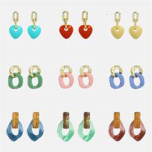 Miwens – boucles d'oreilles en forme de cœur pour femmes, en résine acrylique, pendentif rond irrégulier, acide acétique, Roxy, bijoux, 2021