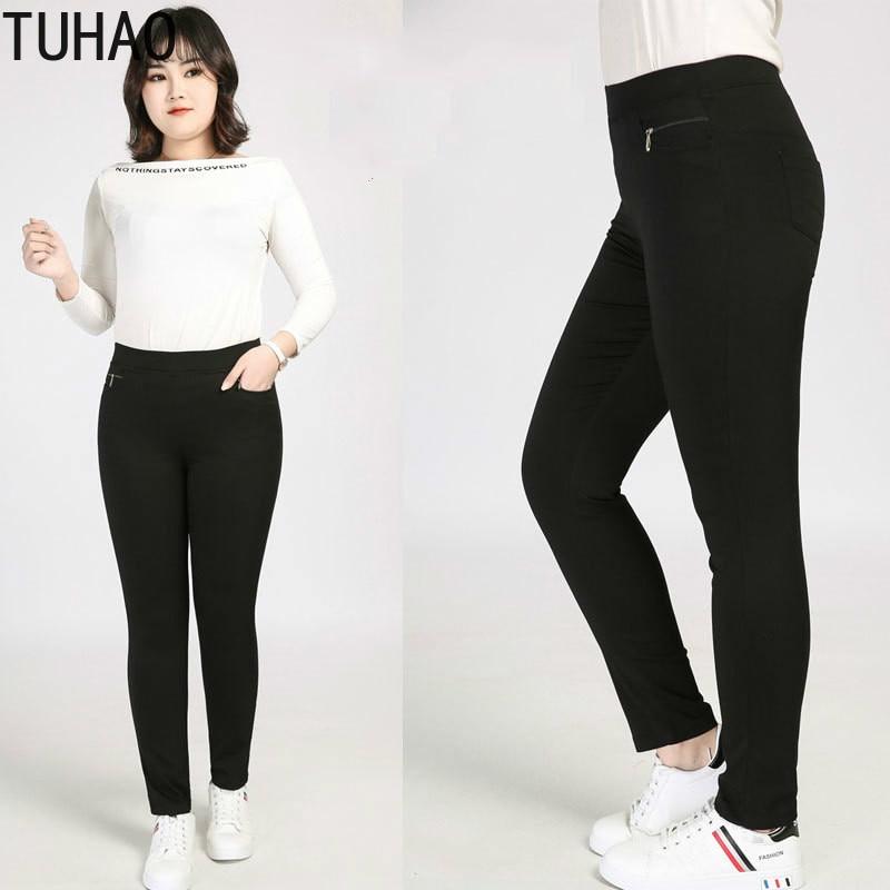 TUHAO Plus Size 9xl 8xl 7xl 6xl Women's Pencil Pants Women Casual Capris Black Color Female Palazzo Pants Formal Trousers
