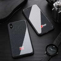 Nouvelle COURSE Automobile SPORT carbone étui fibre pour iphone 7 plus 8 plus X XS MAX XR Miroir verre voiture téléphone étui