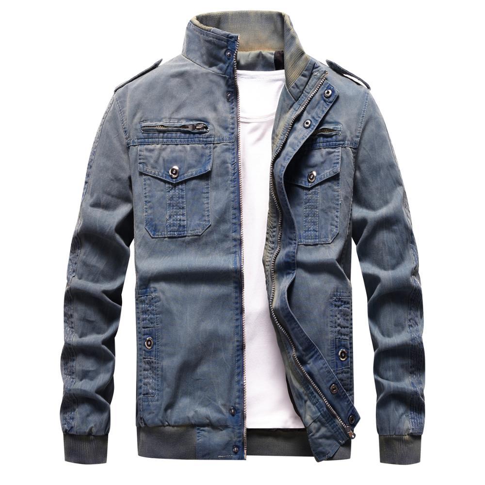 Denim Jacket Men Retro Cowboy Casual Coats Mens Windbreaker Tactical Military Cargo Bomber Jeans Jackets European Size Chaquetas-in Jackets from Men's Clothing