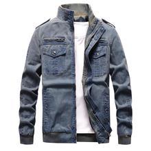 Denim Jacket Men Retro Cowboy Casual Coats Mens Windbreaker Tactical Military Cargo Bomber Jeans Jackets European Size Chaquetas