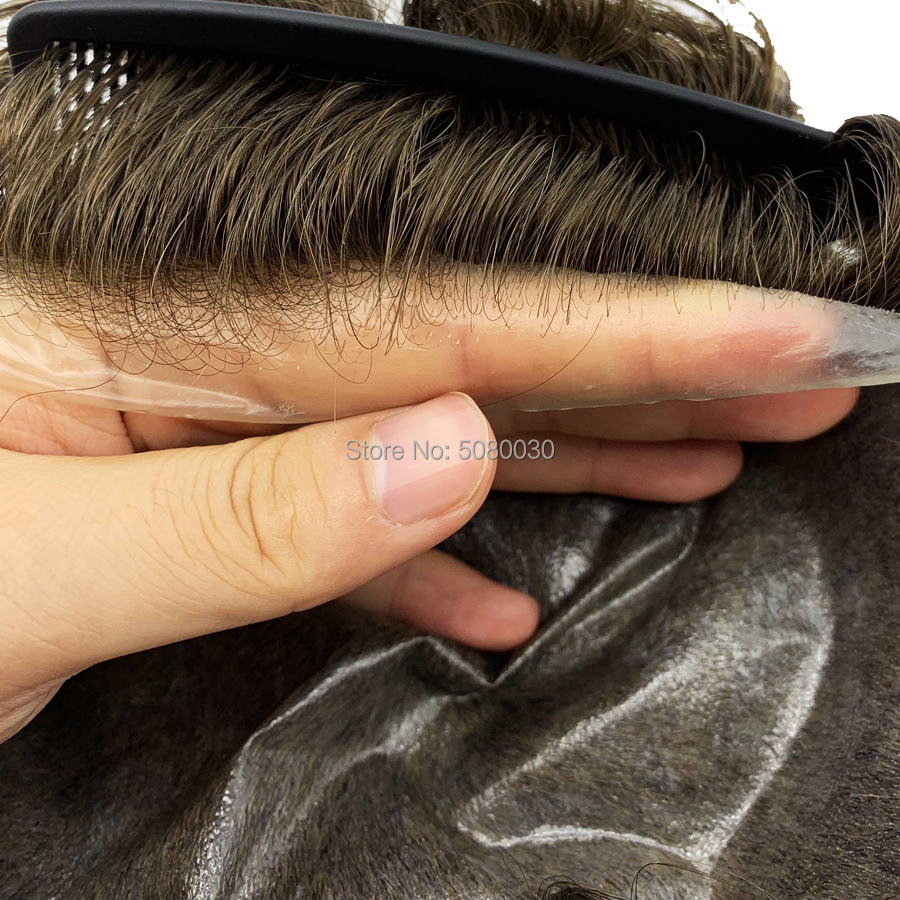 Stock Thin Skin Pu Toupee Men Human Hair Injection Skin Toupee Cheap Hair Replacement Men's Curly Toupee
