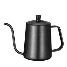 600 мл Монтажный кронштейн из нержавеющей стали ручной удар заварник для чая кофе горшки с крышкой капельного гусиного носика длинный рот кофе чайник