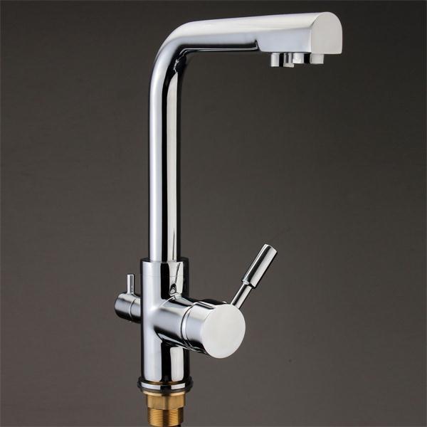Double levier cuisine 3 voies filtre à eau mélangeur robinet évier flux moderne Flexible Chrome robinet