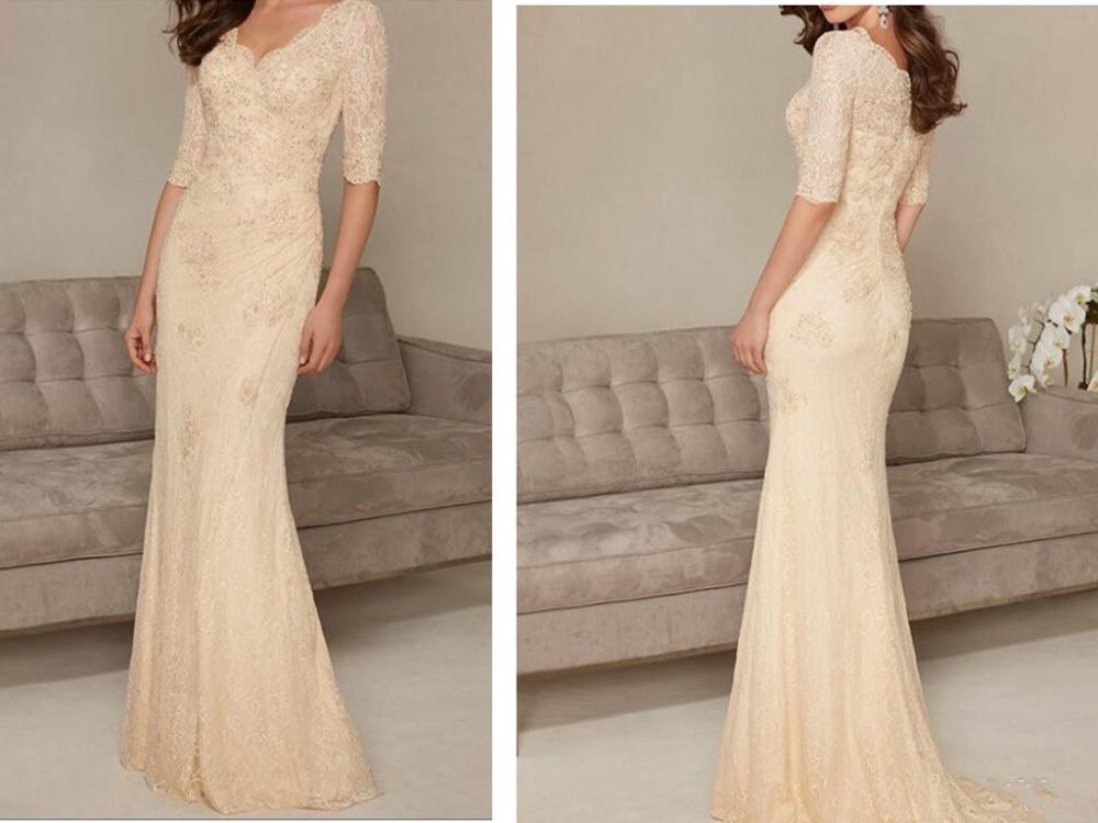2019 Champagne Mother Of The Bride Dresses Long Elegant Bead Sequined Pleats V-Neck Mermaid Half Sleeve Lace Formal Evening Gown