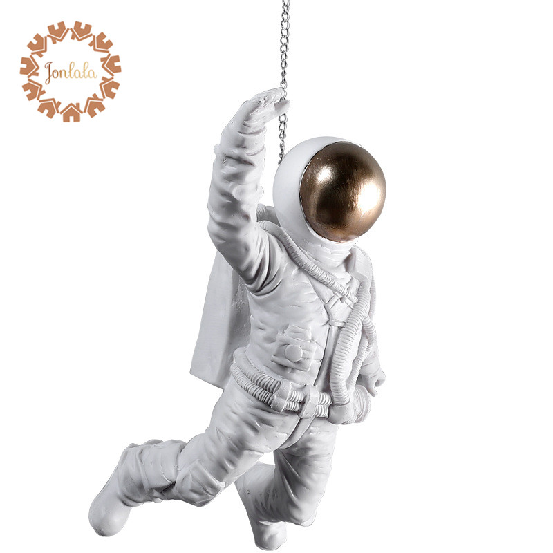 Creative Space Dog Astronaut Decoration Resin Crafts Flying Astronaut Wall Hangings Decorative Crafts Best Gift