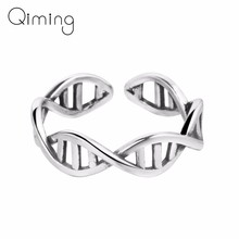 Science Chemistry Antique Silver Ring Women Molecule DNA Infinity Open Finger Adjustable Rings fashion Jewelry Birthday Gift(China)
