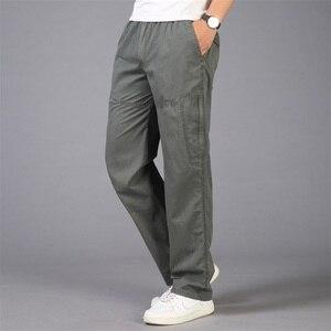 Image 1 - Pantalon Cargo pour hommes, poches 2020, grande taille 5XL, respirant, grande taille, été, droit, Long, collection décontracté