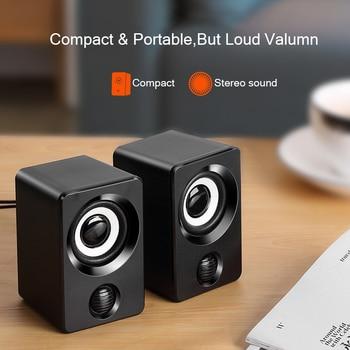 AUX Mini Computer Speakers USB Powered 1.3m Wired 1 Pair Bass Stereo Speakers for Laptop Desktop Phone 3W*2 Powerful Loudspeaker 4