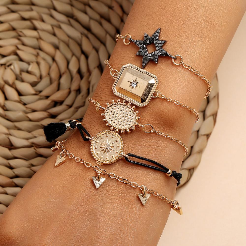 Multi-Style Damen Armbänder Schmuck Geschenk Elastischer Armband Set Böhmische