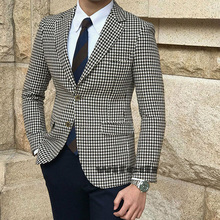 Houndstooth Plaid Casual Blazer for Men One Piece Man Suit Jacket with Side Slit Slim fit Male Coat Fashion Clothes New Arrival