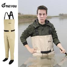 купить Neygu breathable  waterproof fly fishing chest wader ,attached stocking foot, fishing pants for man дешево