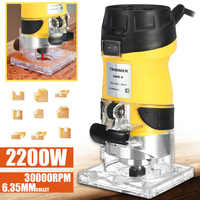2200W Electric Hand Trimmer Wood Router 6.35mm Woodworking Laminator Carpentry Trimming Cutting Carving Machine Power Tool Set