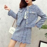 Tassel tweed jacket asymmetrical pearls tweed skirt suit runway tweed suit runway autumn winter women 2 piece set