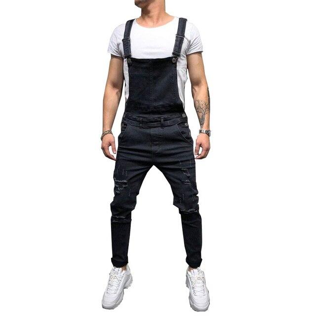 Fashion Men Pants Ripped Jeans Overalls Jumpsuits Hi Street Distressed Denim Bib Overalls For Man Suspender Pants Size S-XXXL 5