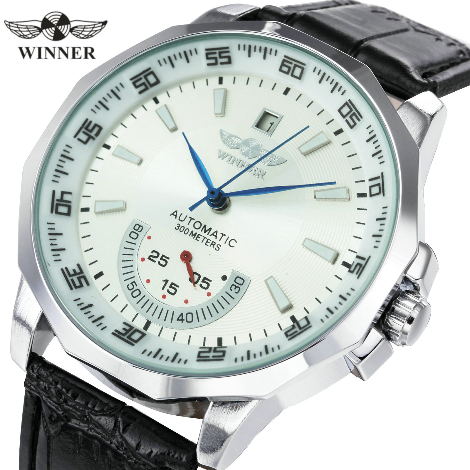 WINNER Official Military Sports Watch Men Automatic Mechanical Sub dials Calendar Leather Strap Mens Watches Top