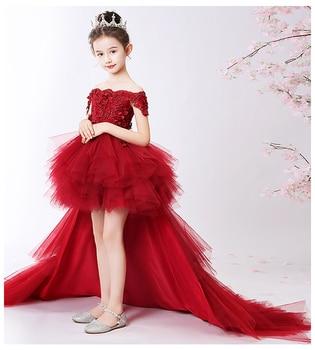 Long Trailing Flower Christmas Girl Dress Wedding Princess Tutu Party Events Dresses For Teenage Girl Dress Ceremonies Clothes цена 2017