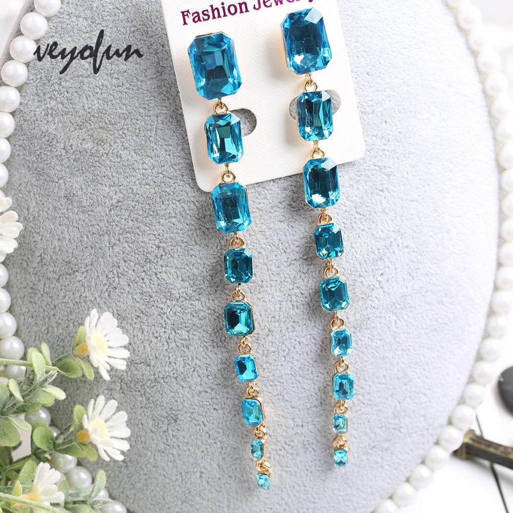 Veyofun 2019 New Long Crystal Dangle Earrings For Women  Square ZA  Elegant Drop Earrings Fashion Jewelry