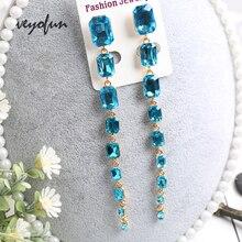 Veyofun 2019 New Long Crystal Dangle Earrings for Women  Square ZA Elegant Drop Fashion Jewelry