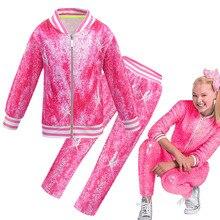 2020 봄 베이비 Jojo Siwa 캐주얼 Tracksuit 어린이 면화 지퍼 자켓 바지 2 개/대/세트 하이틴 걸스 스포츠 정장 의류 세트