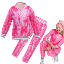 2020 bahar bebek Jojo Siwa rahat eşofman çocuk pamuk fermuarlı ceket pantolon 2 adet/takım genç kız spor takım elbise giyim seti