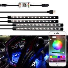 Para Audi A6 C5 C6 C7 A3 8P 8 V A4 B5 B6 B7 B8 A5 A7 A8 Q3 Q5 Q7 TT R8 VW Golf 2 APP Control atmósfera Interior del USB de la luz LED