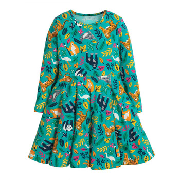 1-7 Years Baby Girl Dress Cotton Doll Collar for Kids Long-sleeved Corduroy Clothes for Toddler Girl  for Autumn and Spring 2020 - Color 7, 5T