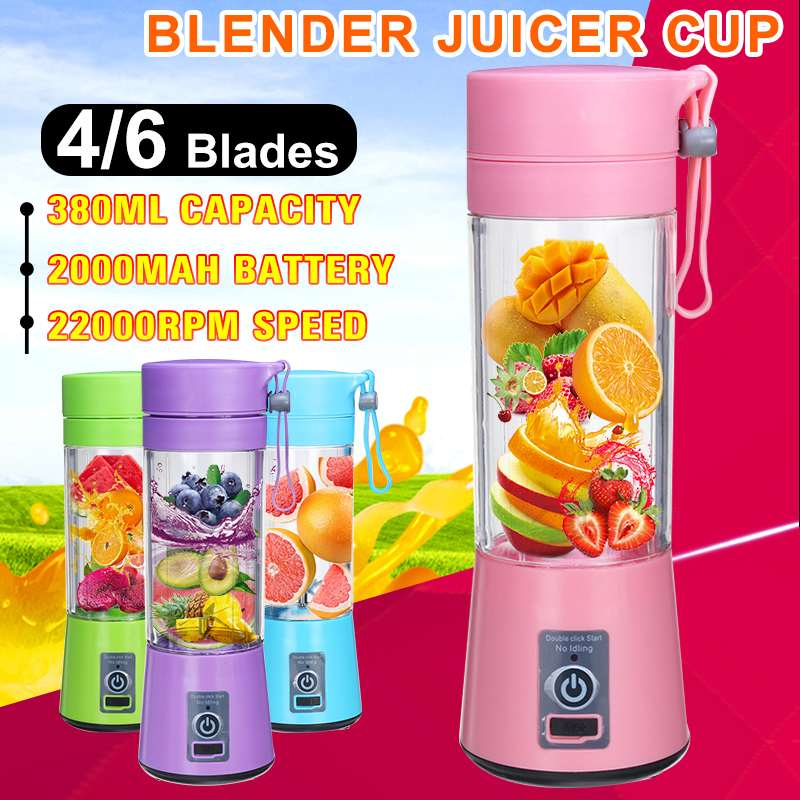 380ml 4/6 Blades Portable Juicer Electric USB Rechargeable Smoothie Blenders Machine Mixer Mini Juice Cup Maker Fast Blenders