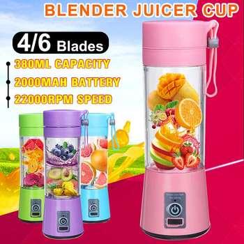 Licuadora eléctrica portátil, batidora, botella Usb, Mini batidora de frutas, Extractor de alimentos, licuadora