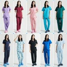 Scrubs uniform Suit beauty salon nursing uniform lab coat spa uniform pet shop women Work clothes scrub pantsSXX42001-14