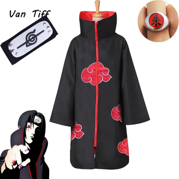 Naruto Cosplay Costumes Akatsuki Cloak Sasuke Uchiha Role Play Costume Ropa Cape Itachi Naruto Clothing Accessories Halloween image