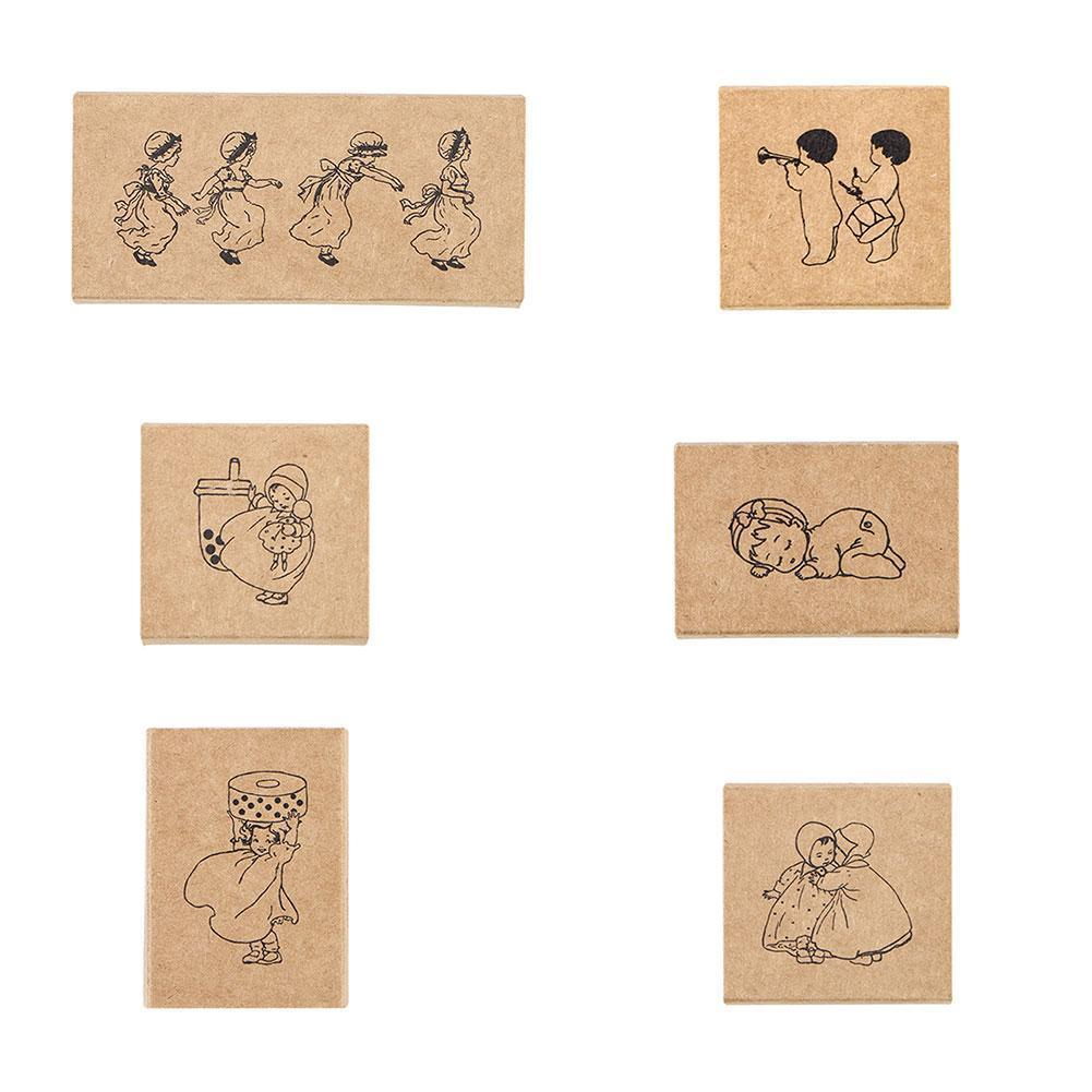 1pc Vintage Wooden Rubber Stamps Set Plant Tree Flower Diary Notebook Diy Stamp Making Scrapbooking Number Decorative For C D5P7