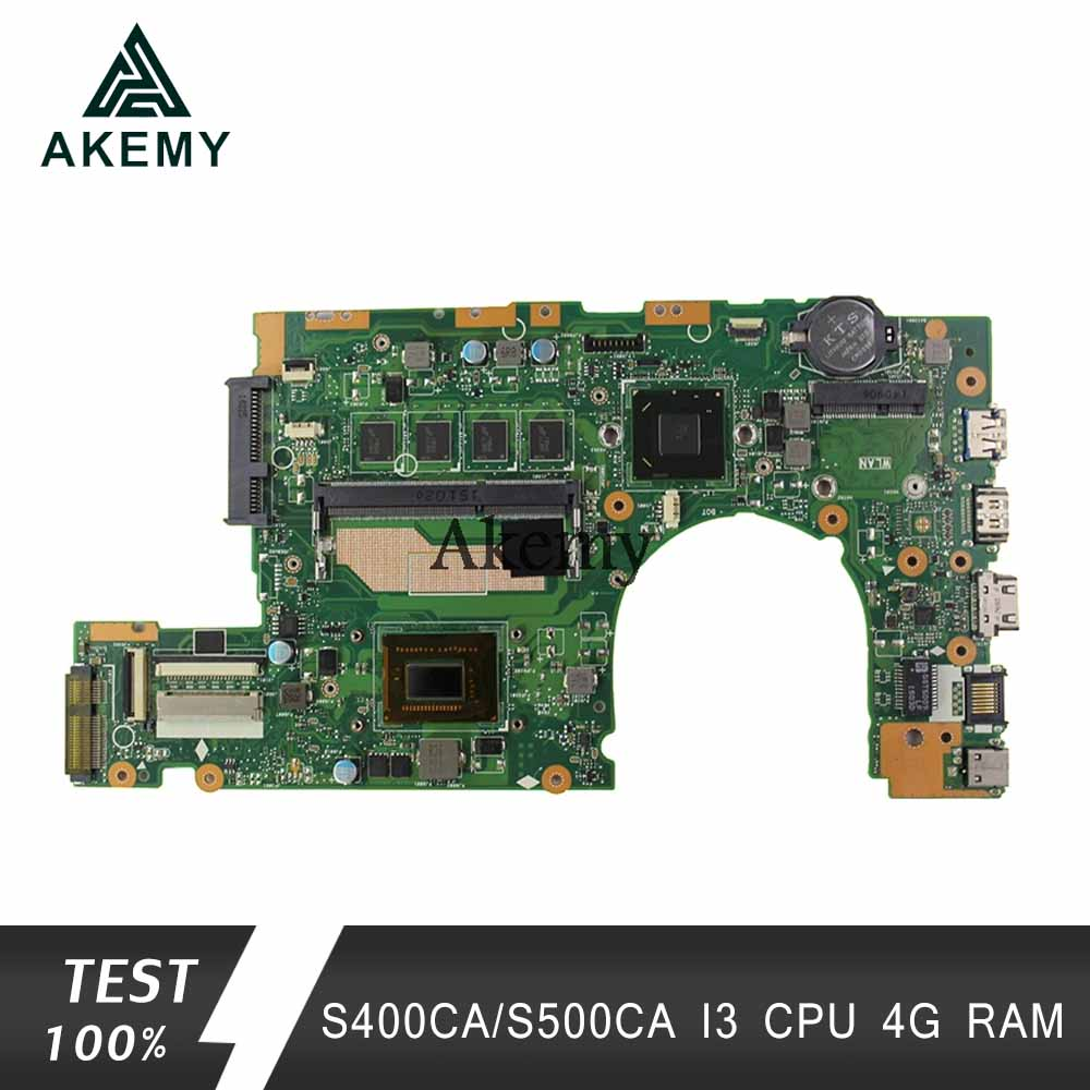 Akemy S400CA Laptop motherboard for ASUS S400CA S500CA S400C S500C S400 S500 Test original mainboard 4G RAM i3  CPU