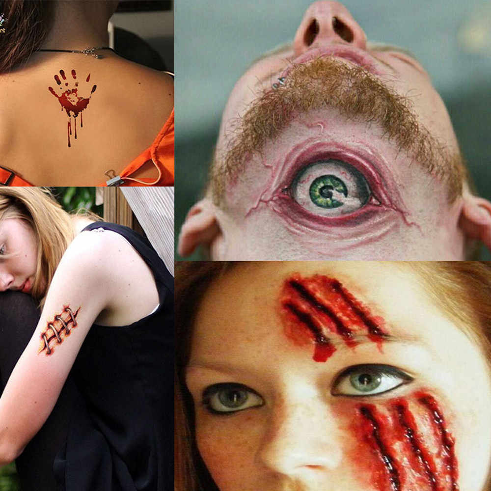Impermeabile 30Pcs Impermeabile di Halloween Vampire Autoadesivo Del Tatuaggio Temporaneo Falsi Autoadesivi di Tatoo Flash Falso Tatuaggi per Gli Uomini Le Donne 909