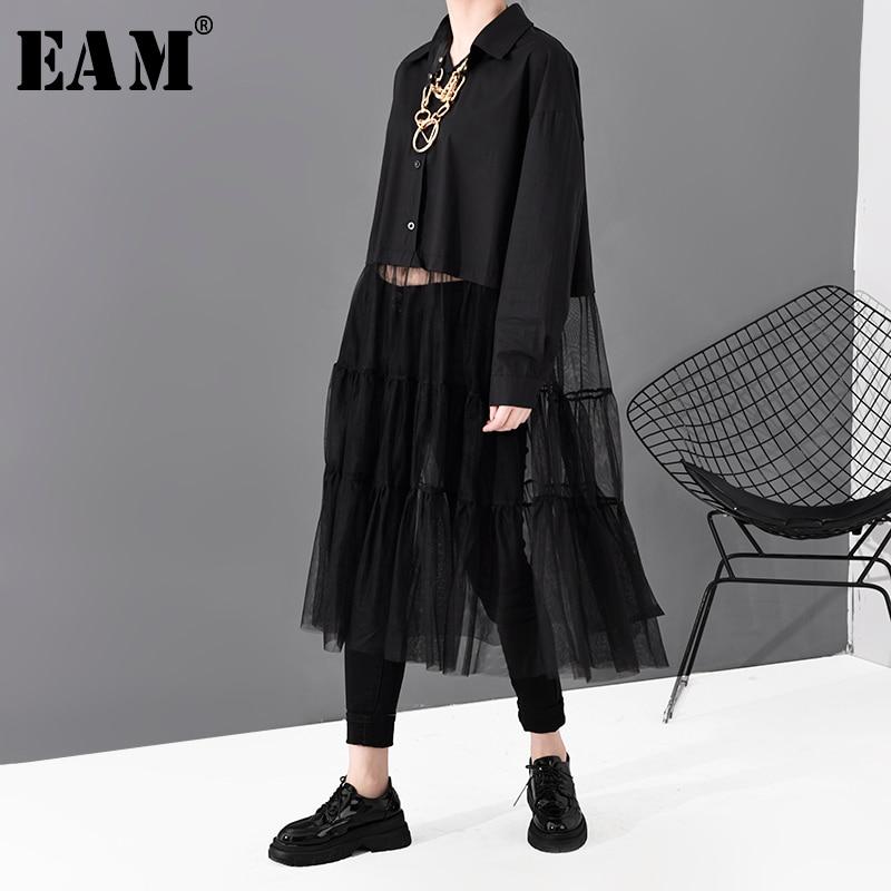 [EAM] Women Black Mesh Split Joint Big Size Shirt Dress New Lapel Long Sleeve Loose Fit Fashion Tide Spring Autumn 2020 1S696