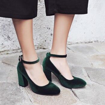 Tacones altos rojos y verdes de moda, zapatos de tacón, correas de tobillo sexys para mujer, zapatos de terciopelo con tacón para mujer, calzado femenino de alta calidad