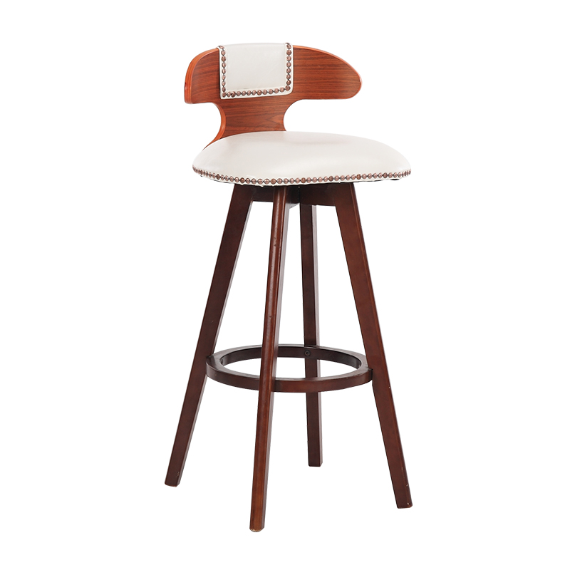Solid Wood Bar Chair Creative Bar Chair European Front Desk Chair Rotating Retro Bar Stool Simple High Stool