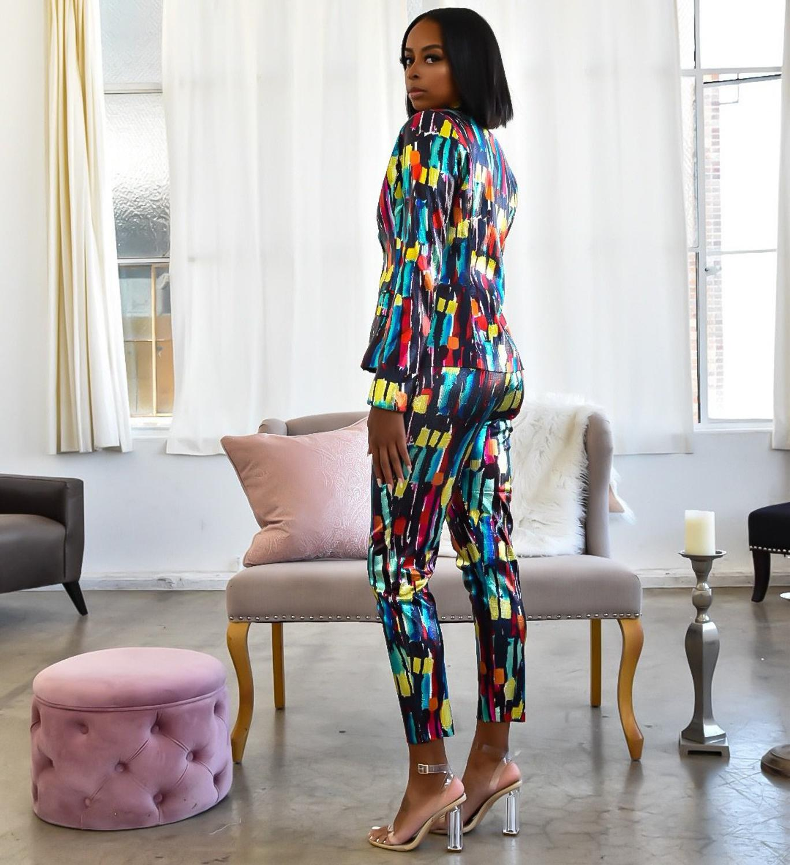 Echoine Colorful  Women Pant Suits Blazer Jacket  Pencil Pant 2 Piece Set OL Work Office  business suits combinaison femme