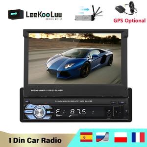 "LeeKooLuu 1 Din Car Radio 7"" Auto Retractable Screen Car Multimedia GPS Navigation Optional Mirrorlink Android 1Din Autoradio(China)"