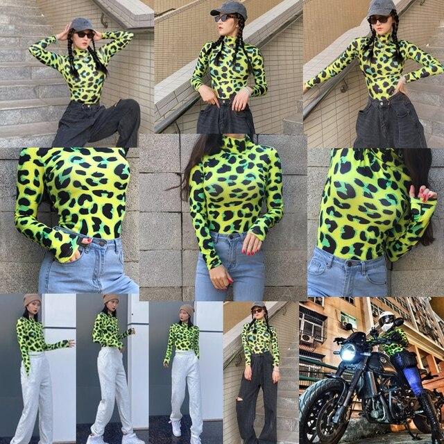 CNYISHE Women Long Sleeve Leopard Skin Prinetd Bodysuit Sexy Neon Green Streetwear Jumpsuit Skinny Leopard Tops Fashion Rompers 2